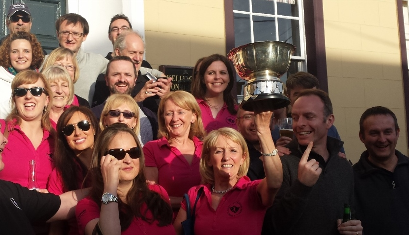 Members of Dún Laoghaire Musical & Dramatic Society choir who won 'best musical society choir' in Ireland at  the Association of Irish Musical Societies Festival in New Ross on Sunday 24th May 2015.  New members and sponsors are always welcome.